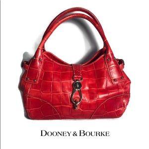 Dooney & Bourke Red Croc Embossed Handbag